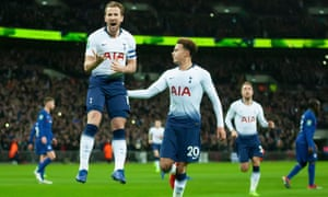 Harry Kane celebrates scoring Tottenham's winner against Chelsea from the penalty spot so set up an intriguing Caraboa Cup semi-final second leg.