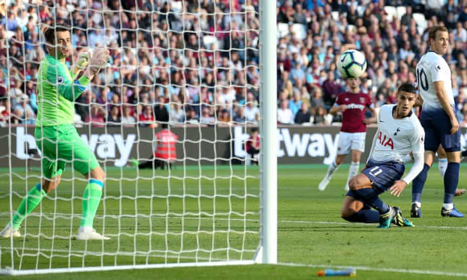 Érik Lamela glances a header past West Ham keeper Lukasz Fabianski to score the only goal of the game in Spurs' victory at London Stadium.