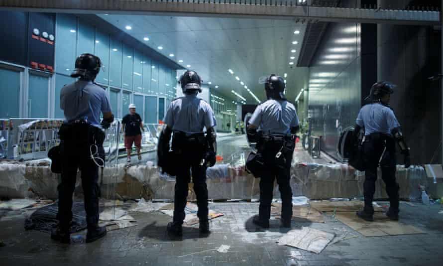 Riot police outside the legislative council building