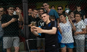 Phil Foden proves popular with spectators at England training.