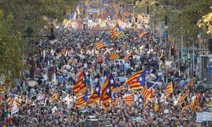 Pro-independence protesters demonstrate against the Spanish government's move to suspend Catalonian autonomy this month.