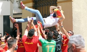 Spain and Poland fans having themselves a time before the game in Seville.