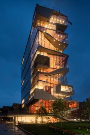 Like a lantern: the building at night. 'Buildings are events,' says one of the architects, Elizabeth Diller.