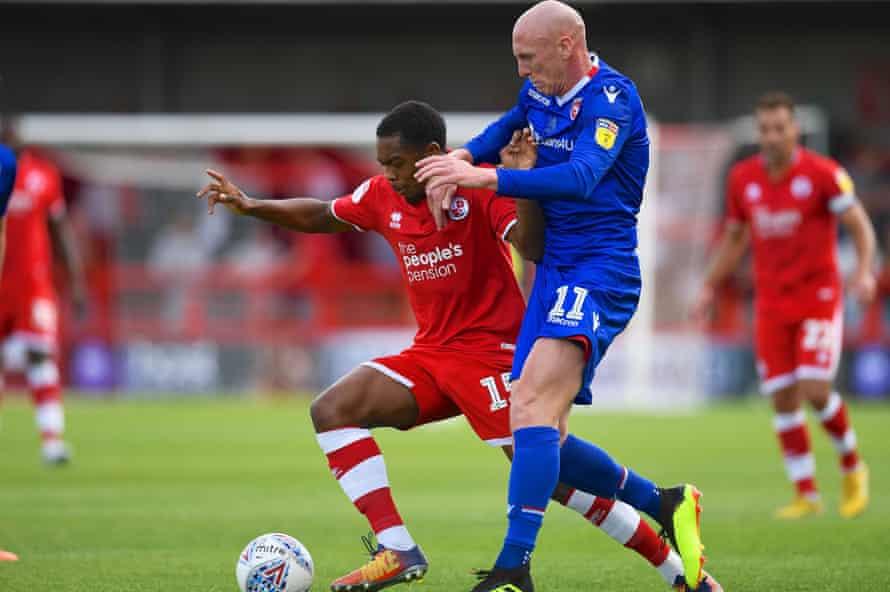 Kevin Ellison in action action Crawley last season.