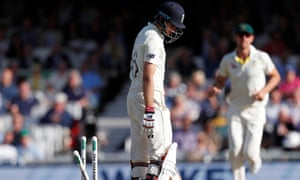 Joe Root looks at the stumps after losing his wicket for 57 runs during the first day of the final Ashes Test.