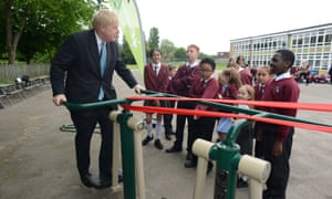 Boris Johnson unveiling new sports equipment at a playground in Uxbridge, west London.