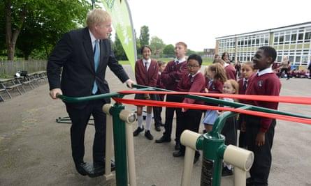 Boris Johnson unveiling new sports equipment at a playground in Uxbridge, west London.