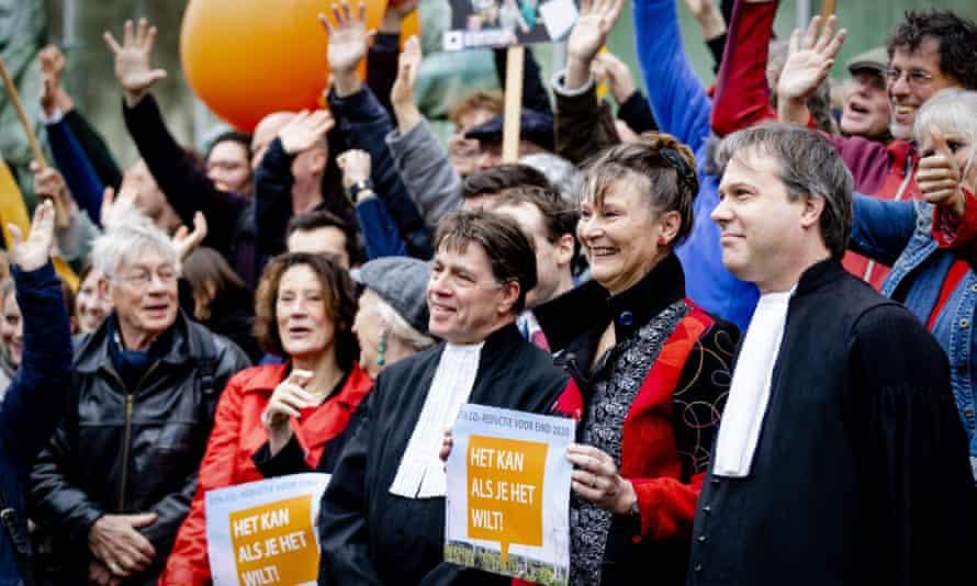 Climate activists outside Dutch supreme court