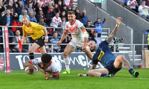 St Helens' Kevin Naiqama goes over for his side's fourth try