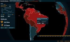 The Homicide Monitor homicide map of the world with Brazil prominently displayed.