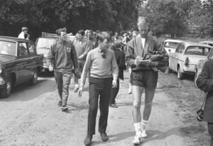 Signing an autograph for a fan during a training session. 9th June 1966.