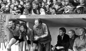 The United bench nervously wait for the whistle at the end of the 1983 season.