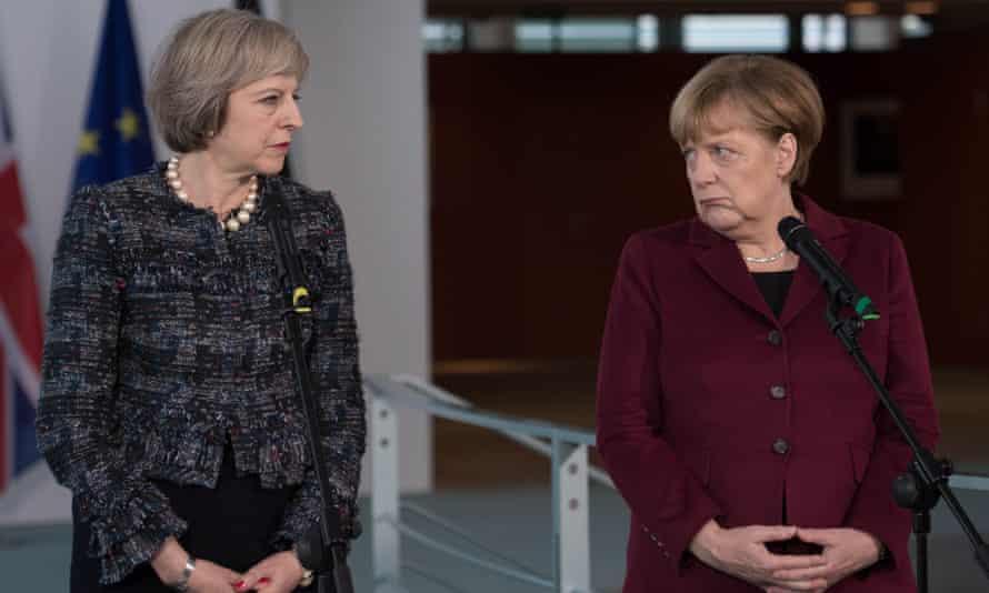 Theresa May with Angela Merkel