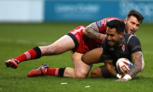 Ben Barba scored a hat-trick for St Helens in their 60-10 victory at Salford, but injury forced the Australian full-back from the field late in the match.