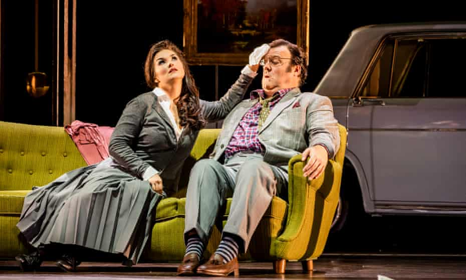 Olga Peretyatko (Norina) and Bryn Terfel in the title role of Don Pasquale at the Royal Opera House.
