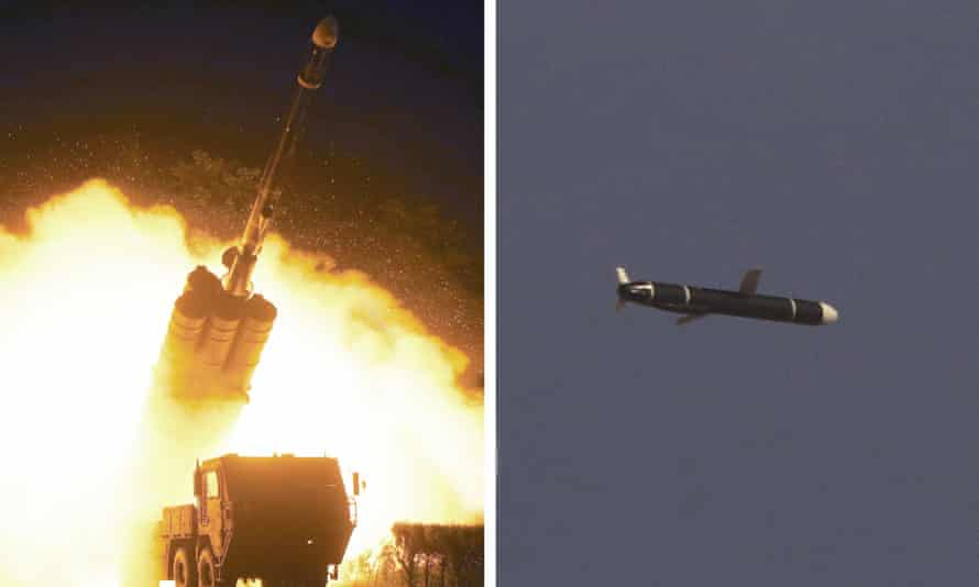 North Korea test-fires long-range cruise missile in this picture supplied by state media outlet KCNA