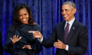 Michelle and Barack Obama in February. Michelle Obama announced the voting drive on Monday – the 53rd anniversary of the Voting Rights Act being signed into law.