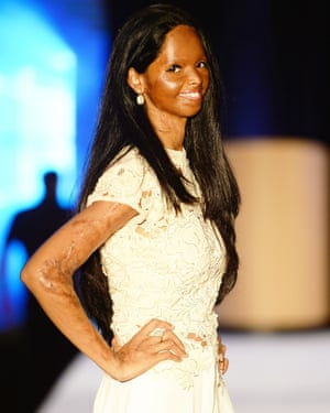 Laxmi on the catwalk at the British Asian Trust charity fashion show on Monday.