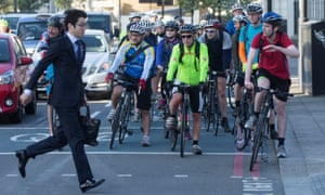 a pedestrian-cyclist standoff in London.