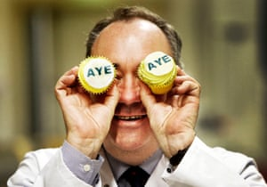 The former SNP leader Alex Salmond visits Brownings Bakers in Kilmarnock ahead of the September 2014 referendum on independence.