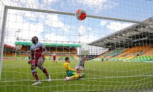 West Ham's Michail Antonio scores his hat-trick goal at Norwich