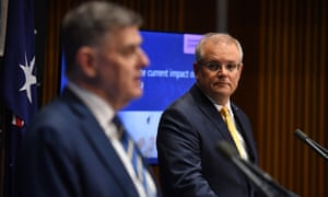 Chief medical officer Brendan Murphy and PM Scott Morrison deliver a coronavirus briefing on Friday