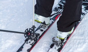 Touring skis have special bindings for walking uphill.