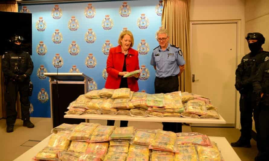 Western Australian police have seized almost $9m in cash and 4kg of ice from trucks in recent weeks