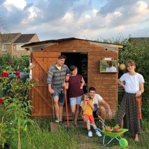 Sarah Jones, Matt Cox, Neil, Claire and Rufus from Birmingham - winners of the allotment shed of the year.