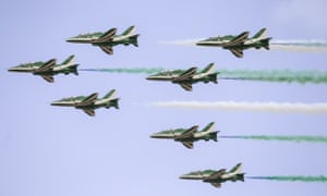 Saudi Hawks from the Saudi air force performing at the international aerospace and defence exhibition in Tunisia in March.