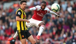 Arsenal's Alexandre Lacazette shoots against Watford FC at the Emirates Stadium. The Gunners won the match 2-0.