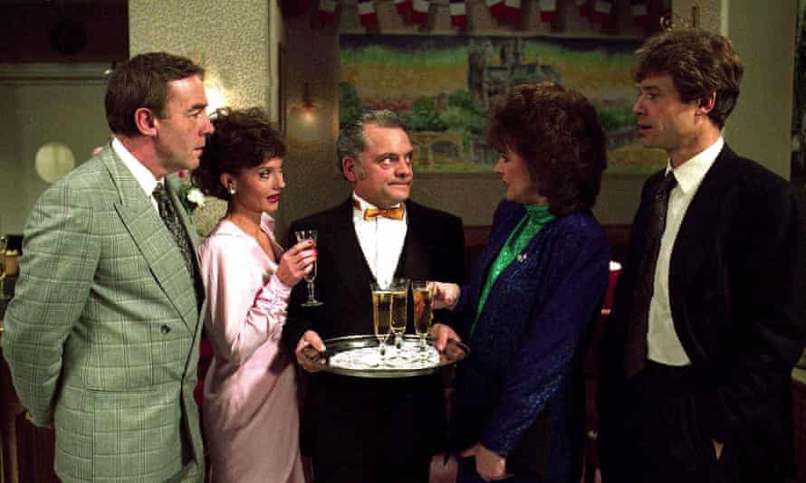 Nicola Pagett, second left, with Michael Jayston, David Jason, Gwen Taylor and David Yelland in the television drama A Bit of a Do, 1989.