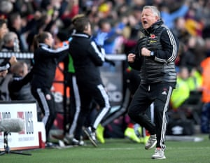 Chris Wilder, manager of Sheffield United celebrates after John Lundstram scored their second of three without reply against Burnley at Bramall Lane.
