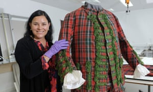 A cut above … Diana Gabaldon examines the tartan suit of English Jacobite Sir John Hynde Cotton.