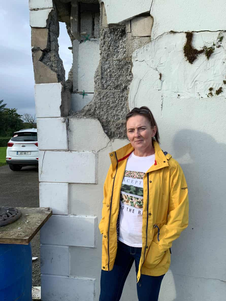 Deirdre McLaughlin showing the devastating consequences of the mica blocks.