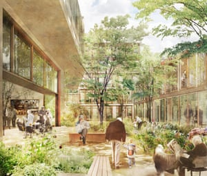 The inner courtyard of a complex of flats in south London, designed for over-75s.