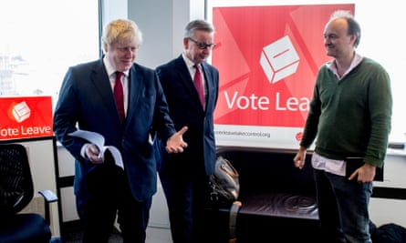 Dominic Cummings with Boris Johnson and Michael Gove at Vote Leave HQ.