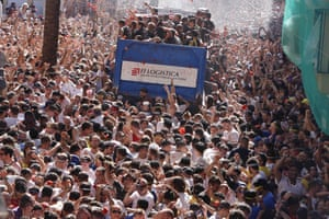 Crowds at La Tomatina in Spain