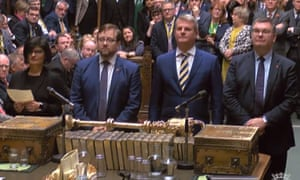 Tellers arriving to give the result in the Stella Creasy amendment in the House of Commons.