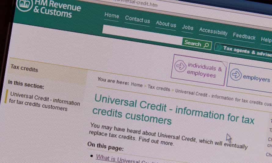 The HMRC universal credit webpage