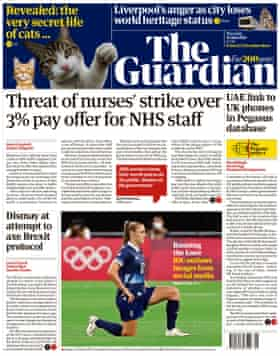 Guardian front page, Thursday 22 July 2021