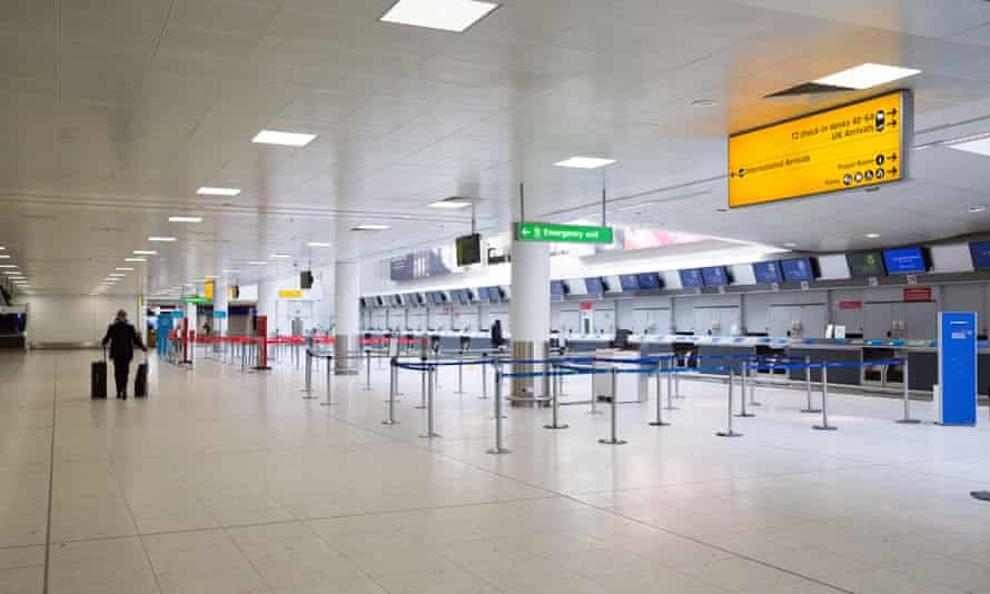 A near-deserted check-in area at Glasgow airport.