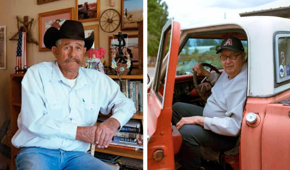 Left: Dennis Williams next to his radio where he listens to KHIL in Kansas Settlement. Right: Dale Allen frequent KHIL listener in his pickup at his home in Sunsites