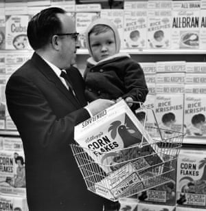 A man and child buying cornflakes in the 1970s