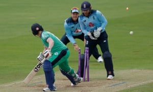 Kevin O'Brien of Ireland is bowled by Adil Rashid.