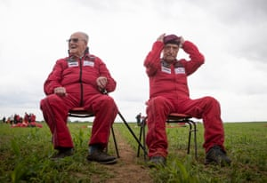 Harry Read, 95, (left) and Jock Hutton, 94, after completing their parachute jumps.