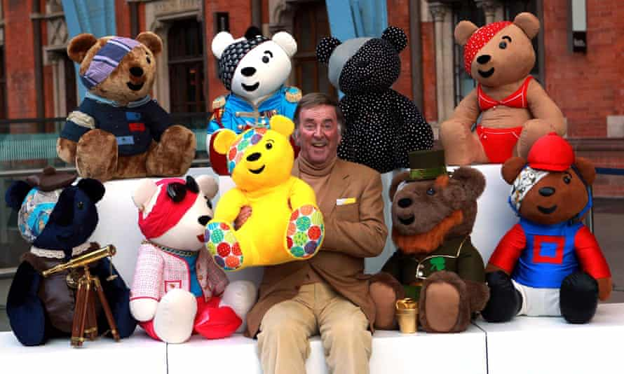 Wogan in 2013 with a collection of Pudsey Bears to be auctioned for Children in Need