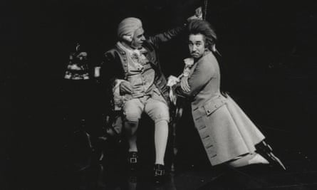 Paul Scofield, left, as Salieri, and Simon Callow as Mozart, in the 1979 production of Amadeus