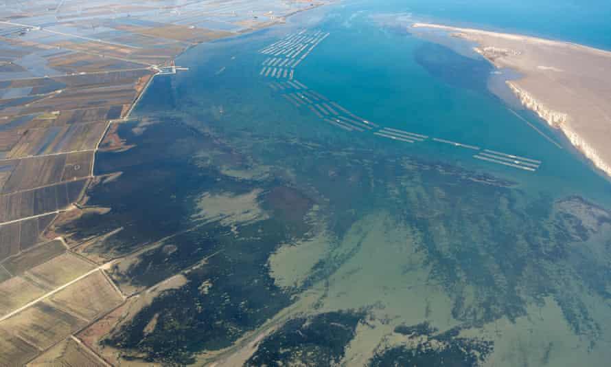 Fangar bay in the Ebro delta, Catalonia, Spain.
