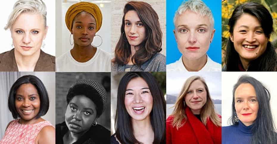Susan Smith Blackburn Award Finalists… Front row, left: Glace Chase, Erika Dickerson-Despenza, Miranda Rose Hall, Dawn King, Kimber Lee.  Second row, left: Janice Okoh, Ife Olujobi, Jiehae Park, Frances Poet and Beth Steel.